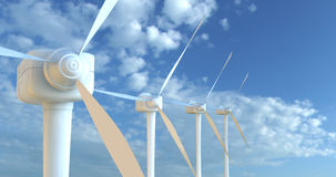 Le turbine di vento 3D rendono Immagine Stock
