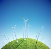 Le turbine di vento coltivano su un piccolo pianeta verde Fotografie Stock Libere da Diritti