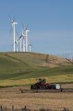 Le turbine di vento competono all'agricoltura per spazio Immagine Stock Libera da Diritti