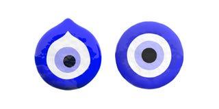 Le turc mauvais observe l'amulette, deux, le coupe-circuit, protection contre la mauvaise chance d'isolement sur le fond blanc il illustration de vecteur