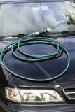Le tuyau d'arrosage enroulé se trouve sur le capot du ` s de voiture Images stock