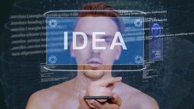 Le type agit l'un sur l'autre idée d'hologramme de HUD banque de vidéos