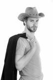 Le type barbu beau de cowboy, l'homme d'affaires ou la police sexy équipent Image stock