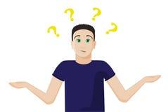 Le type confus ne connaît pas la réponse pour interroger, répandre des mains Question de signes aérienne Regard interrogatif émot Images stock
