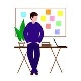 Le type dans les supports de lieu de travail avec ses mains dans des ses poches Derrière lui est un conseil avec des autocollants illustration stock