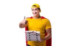 Le type de la livraison de pizza de superhéros d'isolement sur le blanc Photos stock