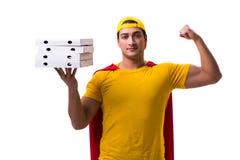 Le type de la livraison de pizza de superhéros d'isolement sur le blanc Photo libre de droits