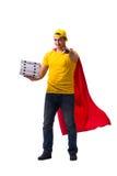 Le type de la livraison de pizza de superhéros d'isolement sur le blanc Images stock