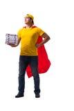 Le type de la livraison de pizza de superhéros d'isolement sur le blanc Image stock