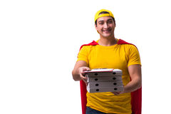 Le type de la livraison de pizza de superhéros d'isolement sur le blanc Photographie stock