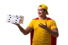 Le type de la livraison de pizza de superhéros d'isolement sur le blanc Images libres de droits