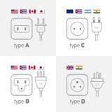 Le type différent l'ensemble de prise de puissance, illustration d'icône pour le pays différent branche Dactylographiez ABCD illustration de vecteur