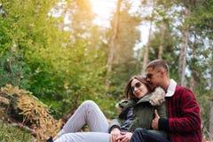 Le type embrasse son amie dans la forêt Photo stock