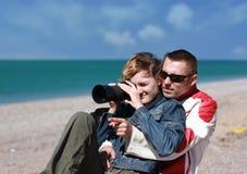 Le type et la fille Photographie stock