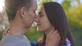Le type et la fille affectueux pendant l'?t? font du jardinage au coucher du soleil clips vidéos