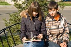 Le type et la fille ont affiché le livre Image libre de droits