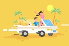 Le type heureux d'illustration conduit le convertible blanc Photographie stock