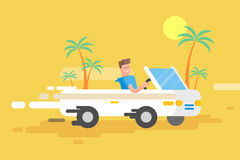 Le type heureux d'illustration conduit un convertible blanc Photos libres de droits