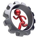 Le type rouge de bande dessinée stylisé par caractère d'homme courent la roue dentée intérieure Image stock