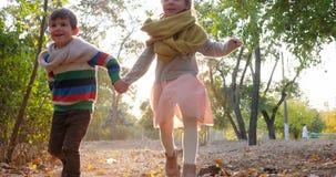 Le type tient le chien par la laisse et le fonctionnement avec la fille au jaune part dans le contre-jour au parc d'automne clips vidéos