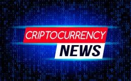 Le ultime notizie delle notizie di Cryptocurrency contro il contesto di una corrente del codice binario della matrice sullo scher illustrazione di stock