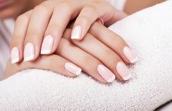 Le unghie della donna con il manicure francese Immagini Stock