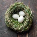Le uova bianche organiche in fieno annidano l'alimento di Eco Fotografia Stock Libera da Diritti