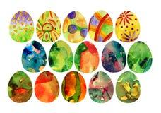 Le uova decorative dell'acquerello, la decorazione ornamentale, le strutture della molla dell'acquerello, l'insieme di tema delle Immagine Stock Libera da Diritti