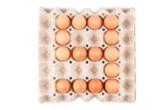 Le uova del pollo nell'assomigliare sistemato scatola del vassoio del contenitore di carta al numero è ` del ` 9 fotografia stock