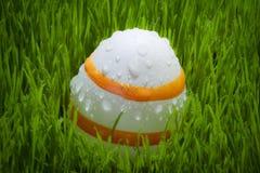 Le uova di Pasqua Su erba verde con acqua cade Fotografia Stock Libera da Diritti