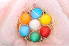 Le uova variopinte dipinte di pasqua con paglia annidano in pelliccia rosa Immagine Stock