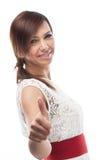 Le upp optimistiskt ge sig för kvinna tummar Royaltyfria Bilder