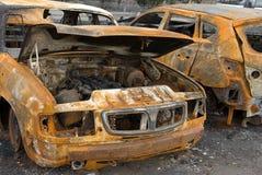 Le véhicule brûlé photo libre de droits
