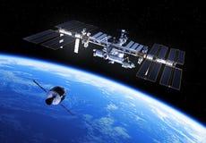 Le véhicule d'exploration d'équipage prépare pour s'accoupler avec la Station Spatiale Internationale illustration de vecteur