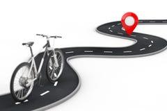 Le v?lo de montagne noir et blanc suivent au-dessus de la route d'enroulement ? la destination Pin Target Pointer rouge ? la fin  illustration libre de droits