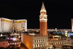 Le vénitien, l'hôtel de mirage et le casino, point de repère, nuit, ville, tour Images stock