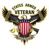 Le vétéran de forces armées des États-Unis a fièrement servi Eagle Vector Illustration chauve illustration stock
