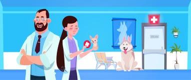 Le vétérinaire soigne la médecine de vétérinaire de salle d'attente d'Over Dogs In Clinic et le concept de soin illustration de vecteur
