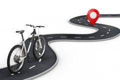 Le v?lo de montagne noir et blanc suivent au-dessus de la route d'enroulement ? la destination Pin Target Pointer rouge ? la fin  illustration stock