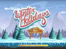 Le vacanze invernali inizializzano la finestra di schermo per il gioco di computer Immagini Stock Libere da Diritti