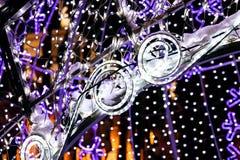 Le vacanze invernali variopinte hanno condotto il fondo della decorazione delle luci Fotografia Stock