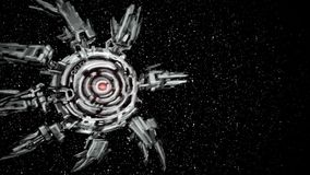 Le vaisseau spatial étranger vole à la planète