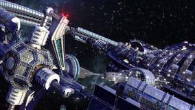 Le vaisseau spatial roulent dedans le voyage interstellaire illustration libre de droits
