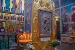 Le Valdai Iver Svyatoozersky Virgin Monastery Iversky intérieur Photographie stock