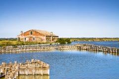 Le valli Italia di Comacchio sono conosciute universalmente per il fishi dell'anguilla fotografie stock libere da diritti