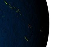 Le Vanuatu de l'espace pendant le crépuscule Photo libre de droits