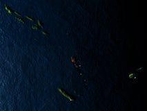 Le Vanuatu en rouge de l'espace la nuit Photo stock