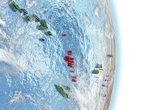 Le Vanuatu en rouge sur terre Photo stock