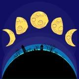 Le varie fasi della luna. Vettore Immagini Stock Libere da Diritti
