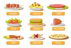Le varie icone dei piatti hanno fissato il concetto Vettore Immagine Stock Libera da Diritti